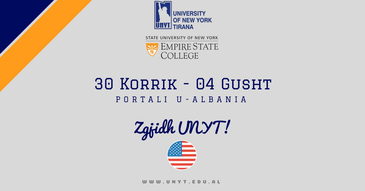 Choose UNYT! The only American University in Albania.