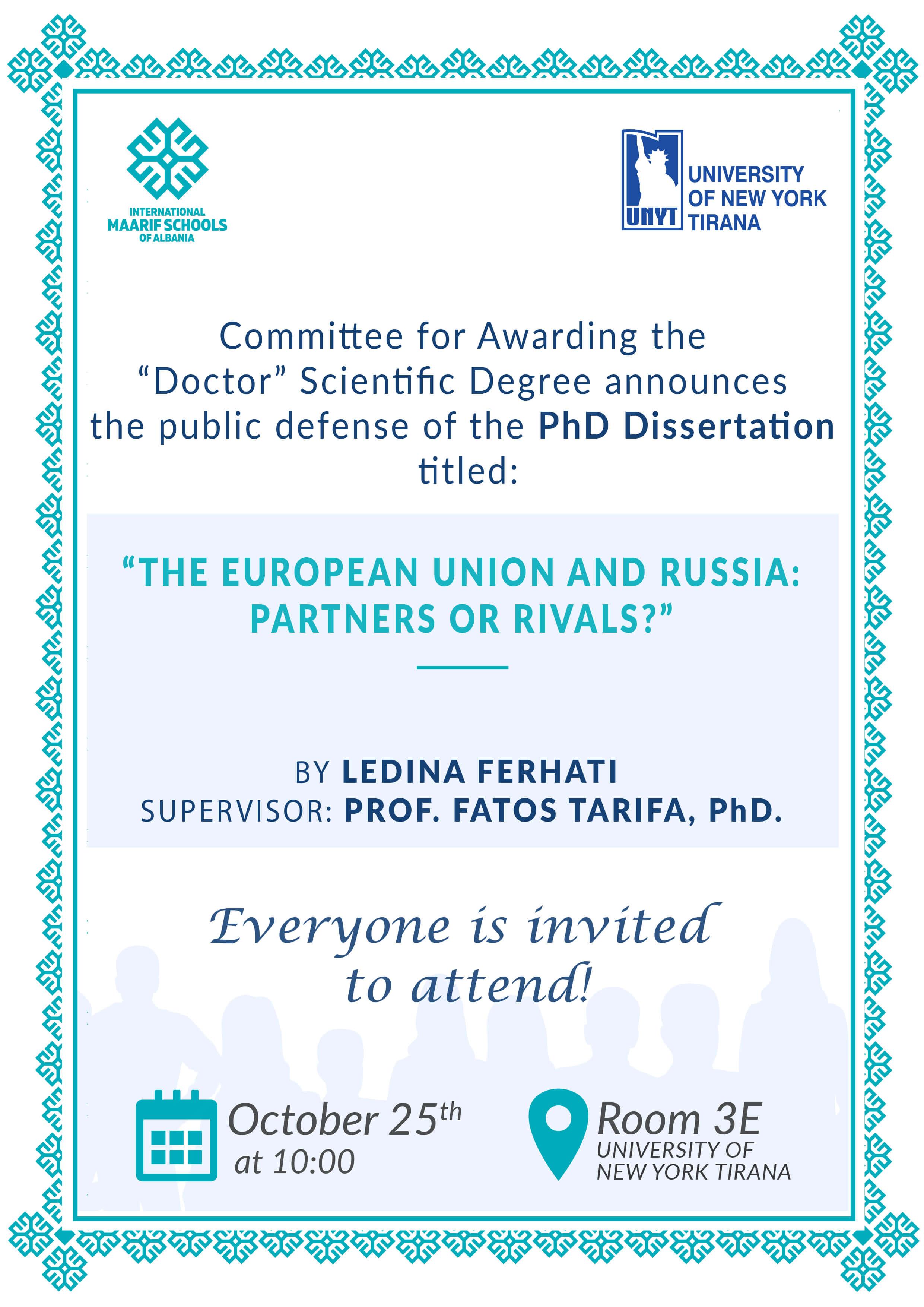 Dissertation Defence – Ledina Ferhati