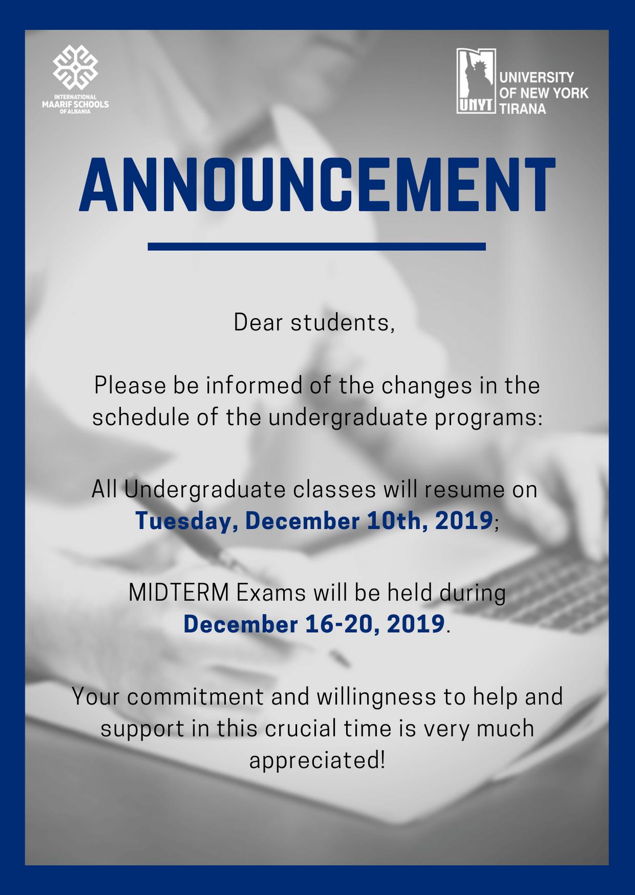 Postponement Notice