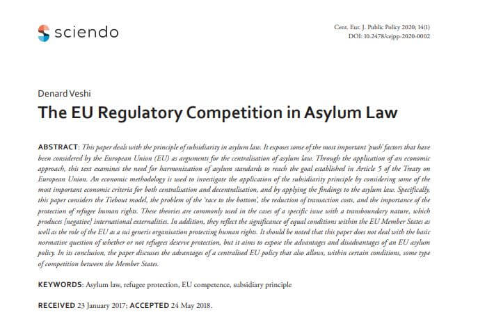 The EU Regulatory Competition in Asylum Law – D.Veshi, PhD