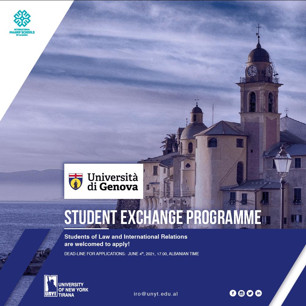 Student Exchange Program with University of Genova, Italy