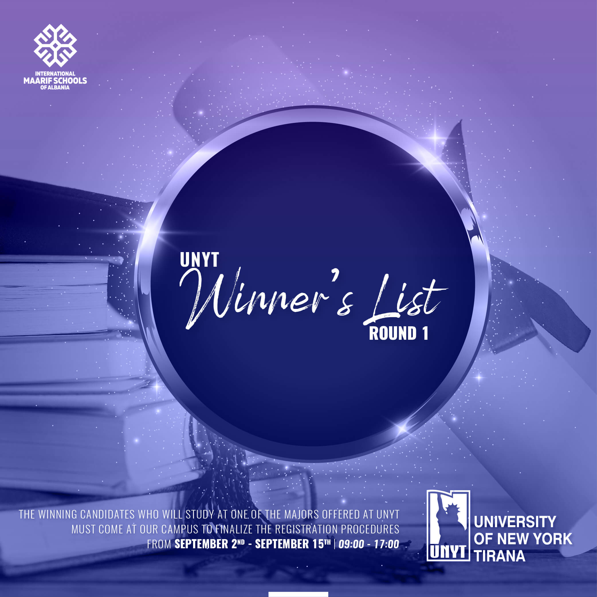UNYT's Winners List for the new academic year 2021-2022 | 1st ROUND