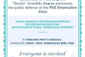 phd announcement_M.Prifti-Skënduli